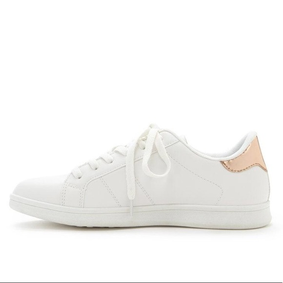 white trainers with gold trim Shop